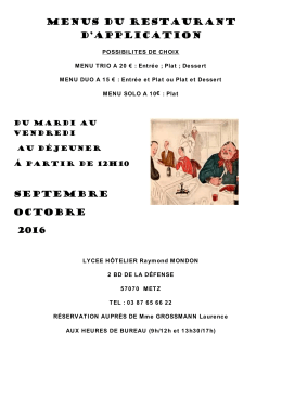 menus du restaurant d`application septembre octobre 2016
