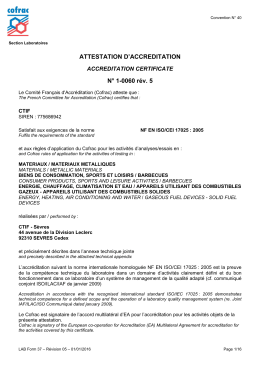 ATTESTATION D`ACCREDITATION N° 1-0060 rév. 5