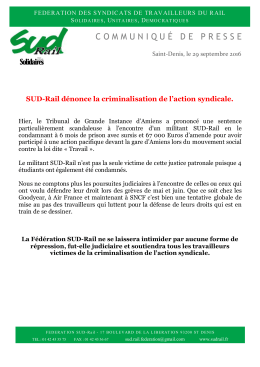 Fédération des syndicats SUD-Rail 17 Bd de la - SUD