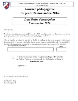 Journée pédagogique du jeudi 24 novembre 2016.