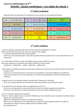 Activité : Calculs numériques « Les règles de calculs