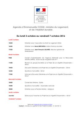 Agenda d`Emmanuelle COSSE, ministre du Logement, et de l
