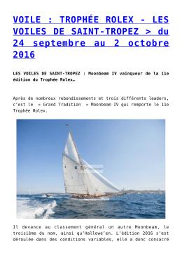 VOILE : TROPHÉE ROLEX - LES VOILES DE