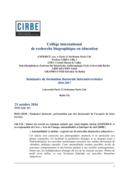 Programme - Experice - Université Paris 13