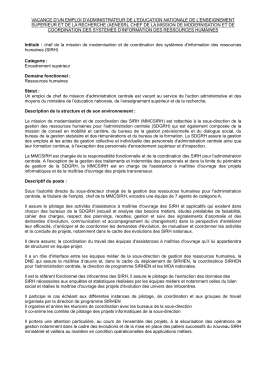 vacance d`un emploi d`administrateur de l`education nationale de l