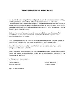 d`informations dans le communiqué du Maire Françoise Baud et du