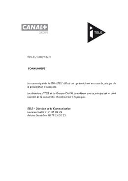 161007 Communiqué Groupe CANAL