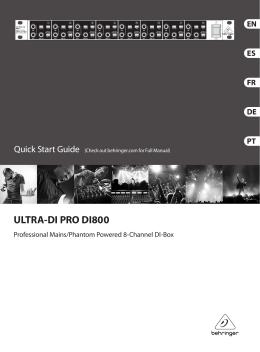 ULTRA-DI PRO DI800 Controls