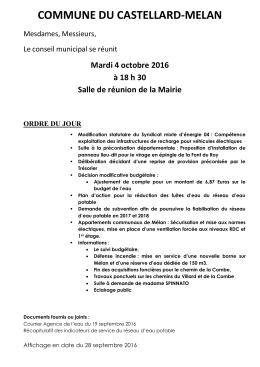 Ordre du jour du Conseil Municipal du 4 octobre - castellard