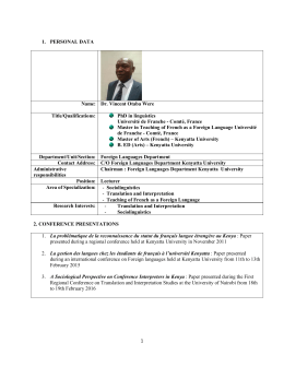 1 1. PERSONAL DATA Name: Dr. Vincent Otaba Were Title