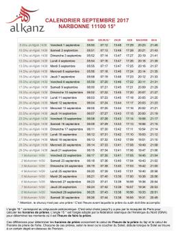Calendrier PDF - Al-Kanz
