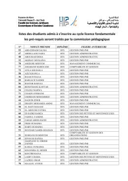 Listes des étudiants admis à s`inscrire au cycle licence fondamentale