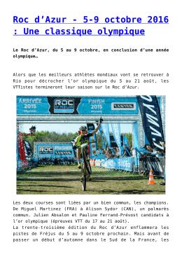 Roc d`Azur - 5-9 octobre 2016 : Une classique olympique
