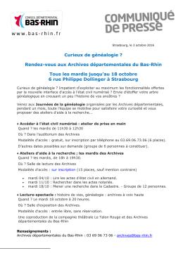 Journées de la généalogie aux Archives départementales - Bas-Rhin