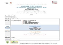 Programme scientifique - Colloque international