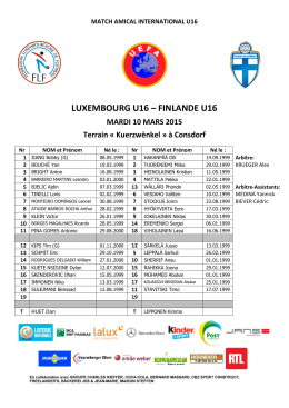 LUXEMBOURG U16 – FINLANDE U16