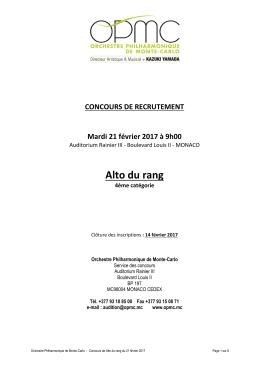 Alto du rang - Monte-Carlo - Orchestre Philharmonique de Monte