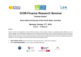 "ICOR-Finance Research Seminar ""Lehman Sisters"""
