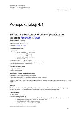 Grafika komputerowa — powtórzenie, program