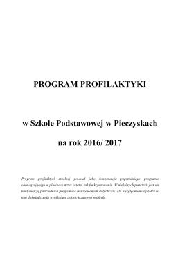 Szkolny program profilaktyk w Szkole Podstawowej w Pieczyskach
