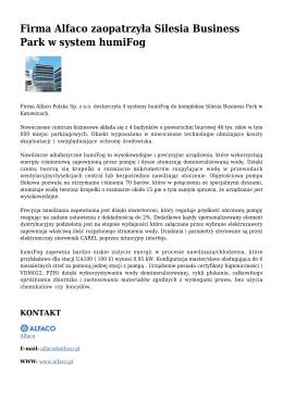 Firma Alfaco zaopatrzyła Silesia Business Park w