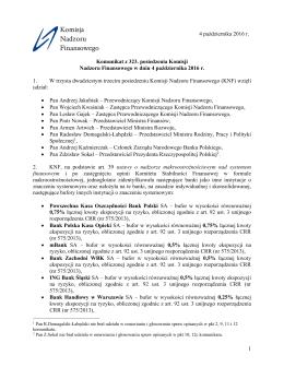 1 Komunikat z 323. posiedzenia Komisji Nadzoru Finansowego w
