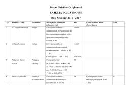 Zespół Szkół w Otrębusach ZAJĘCIA DODATKOWE Rok Szkolny