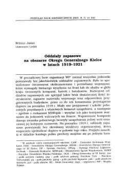 Oddziały zapasowe na obszarze Okręgu Generalnego Kielce w