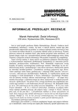 Świat informacji, 230 stron, Wydawnictwo Dyfin, Warszawa 2015