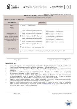 Karta zgłszenia - Gimnazjum nr 9 w Sosnowcu im. Jana Pawła II