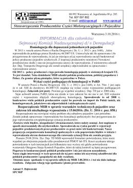 INFORMACJA dla członków Sejmowej Komisji