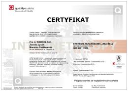 normy ISO 9001:2015 - PUH WERPOL SC Relokacje maszyn