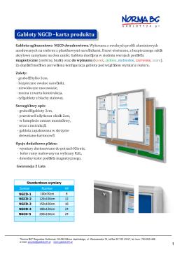 Gabloty NGCD – karta produktu