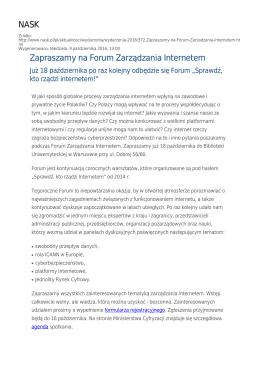NASK Zapraszamy na Forum Zarządzania Internetem
