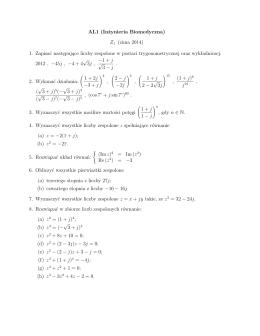AL1 (Inżynieria Biomedyczna) Z1 (zima 2014) 1. Zapisać