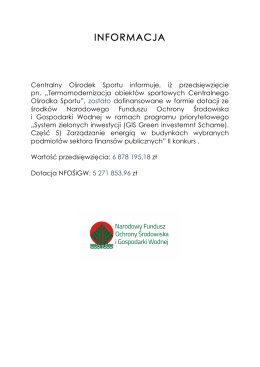 informacja - Centralny Ośrodek Sportu