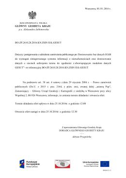 Zmiana terminu składania i otwarcia ofert z dnia 05.10.2016