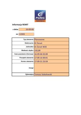Informacja REMIT z dnia: 16-09-06 nr: 11943
