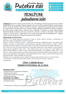 IZLET TEMIŠVAR 30 OKTOBAR