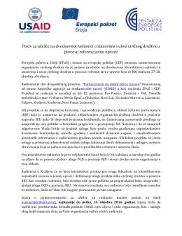 Poziv za učešće na dvodnevnoj radionici o izazovima i ulozi civilnog