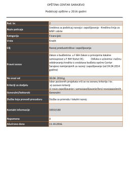 Opcina CSarajevo - Baza i Lista poticaja.xlsx