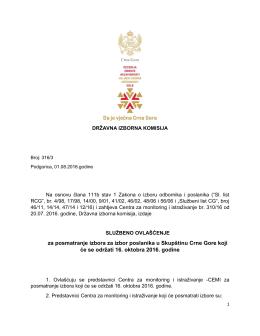 za posmatranje izbora za izbor poslanika u Skupštinu Crne Gore