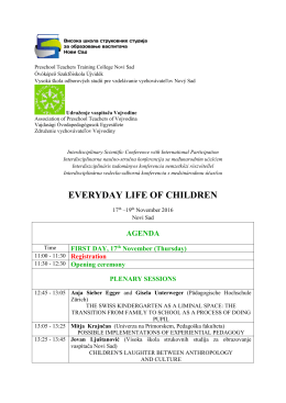 Agenda - Visoka škola strukovnih studija za obrazovanje vaspitača