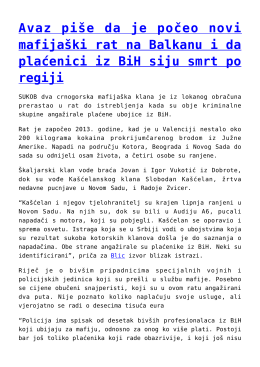 Avaz piše da je počeo novi mafijaški rat na Balkanu i da
