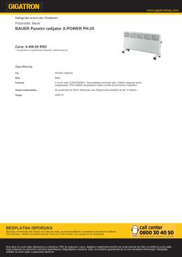 BAUER Panelni radijator X-POWER PH-25 BESPLATNA