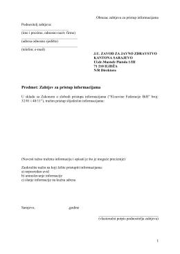 Predmet: Zahtjev za pristup informacijama