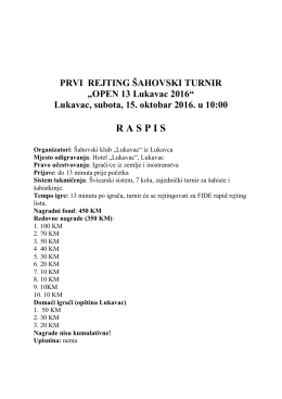 "PRVI REJTING ŠAHOVSKI TURNIR ""OPEN 13 Lukavac 2016"