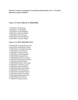 Списак студената по групама за клиничку пропедевтику (за I и IV