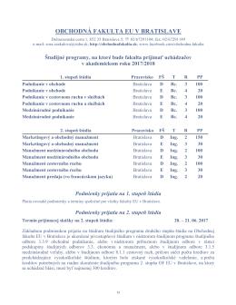 Informácie o počte prijímaných uchádzačov na
