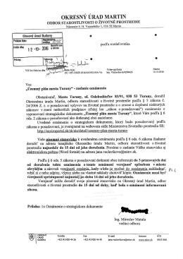 Územný plán mesta Turany - oznámenie 13. 10. 2016